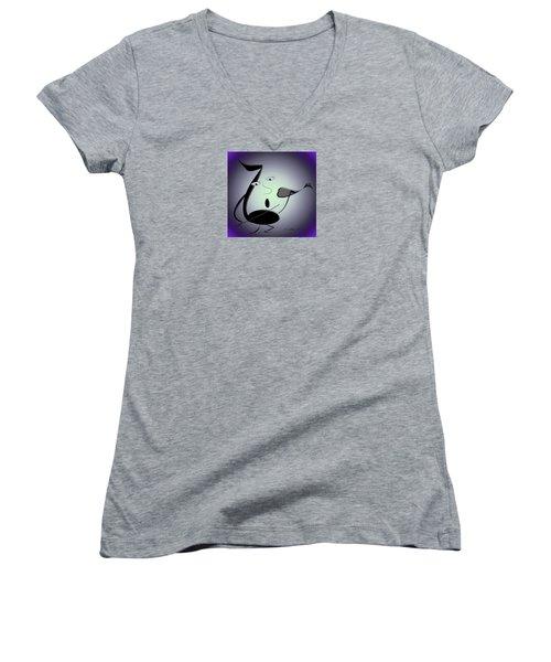The Musician 29 Women's V-Neck T-Shirt (Junior Cut) by Iris Gelbart