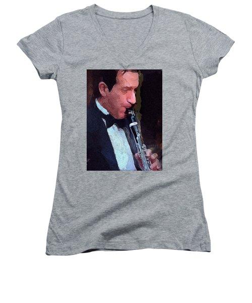 The Musician Women's V-Neck T-Shirt (Junior Cut) by Ted Azriel