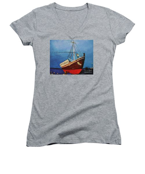 The Mykonos Boat Women's V-Neck T-Shirt