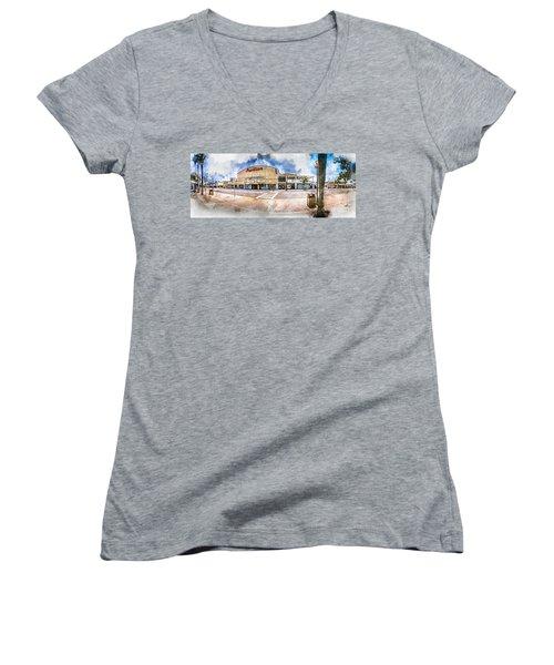 The Myrtle Beach Pavilion - Watercolor Women's V-Neck (Athletic Fit)