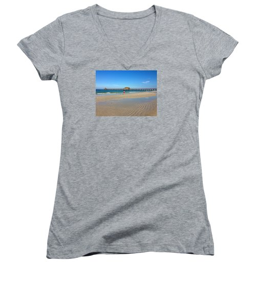 Women's V-Neck T-Shirt (Junior Cut) featuring the photograph The Naples Pier At Low Tide by Robb Stan