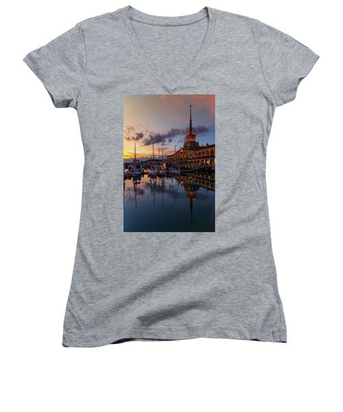 the nautical station and the yacht on the main sea channel of the Sochi seaport Women's V-Neck T-Shirt
