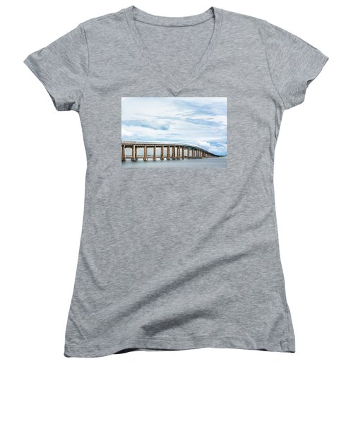 Women's V-Neck T-Shirt (Junior Cut) featuring the photograph The Navarre Bridge by Shelby Young
