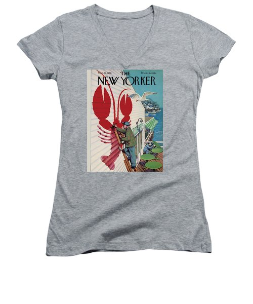 The New Yorker Cover - March 22nd, 1958 Women's V-Neck T-Shirt