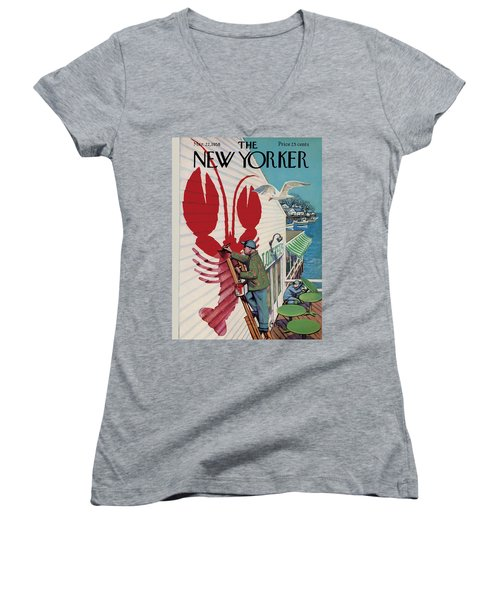 The New Yorker Cover - March 22nd, 1958 Women's V-Neck (Athletic Fit)