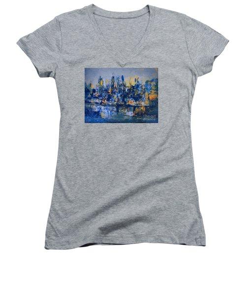 The Night City Women's V-Neck T-Shirt (Junior Cut) by Nancy Kane Chapman