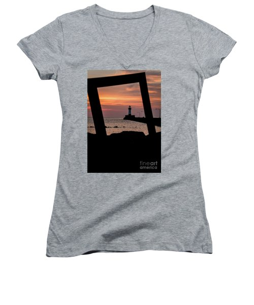 The North Pier Lighthouse Women's V-Neck T-Shirt