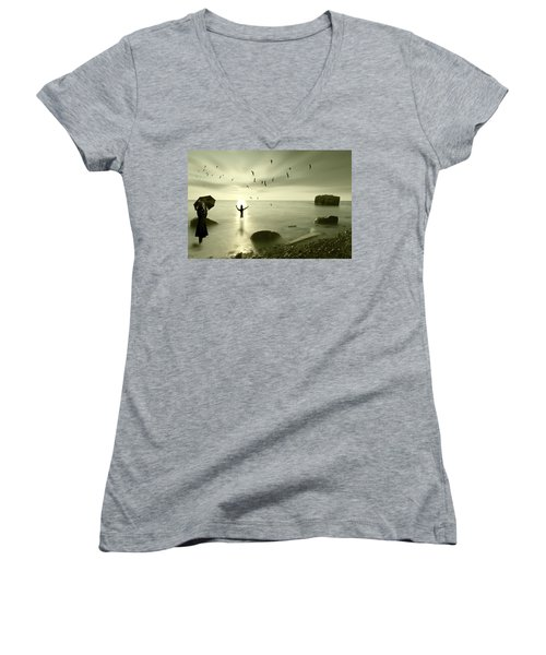 The Northern End Women's V-Neck T-Shirt (Junior Cut) by Nathan Wright