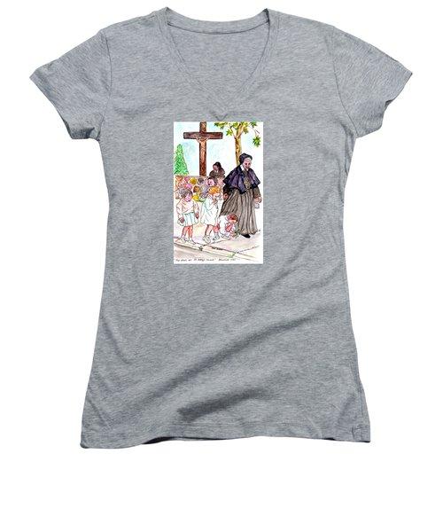 The Nuns Of St Mary's Church Women's V-Neck T-Shirt (Junior Cut) by Philip Bracco