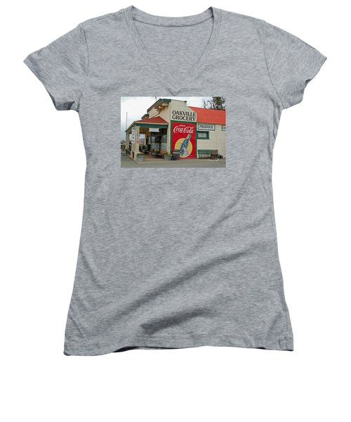 The Oakville Grocery Women's V-Neck T-Shirt (Junior Cut) by Suzanne Gaff