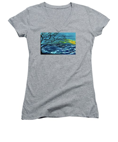 The Ocean Women's V-Neck T-Shirt (Junior Cut) by Saribelle Rodriguez