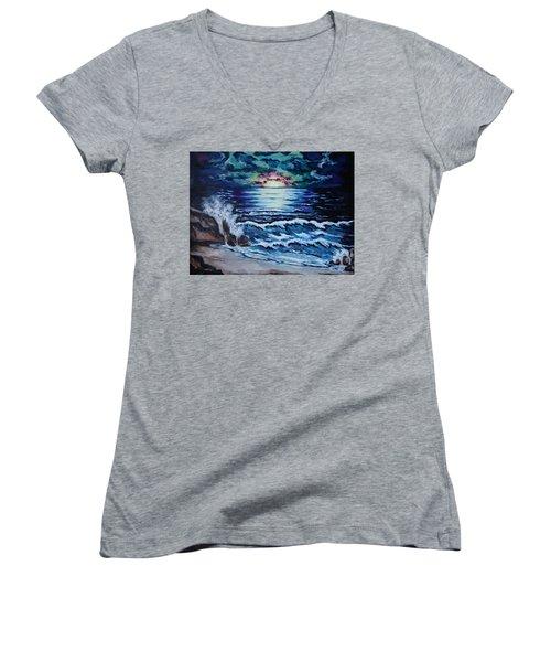 The Ocean Sings The Sky Listens Women's V-Neck T-Shirt