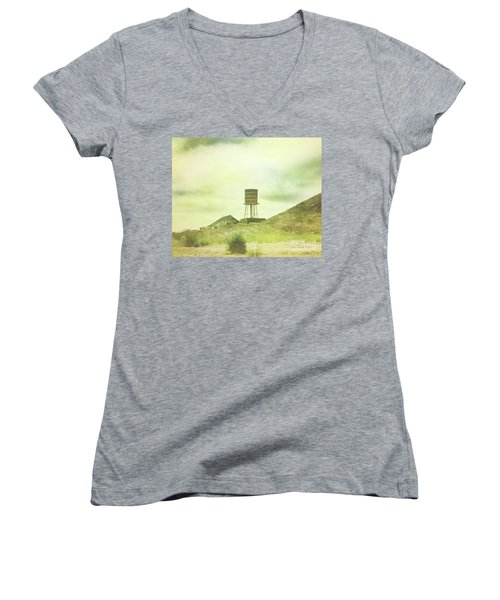 The Old Barn And Water Tower In Vintage Style San Luis Obispo California Women's V-Neck T-Shirt