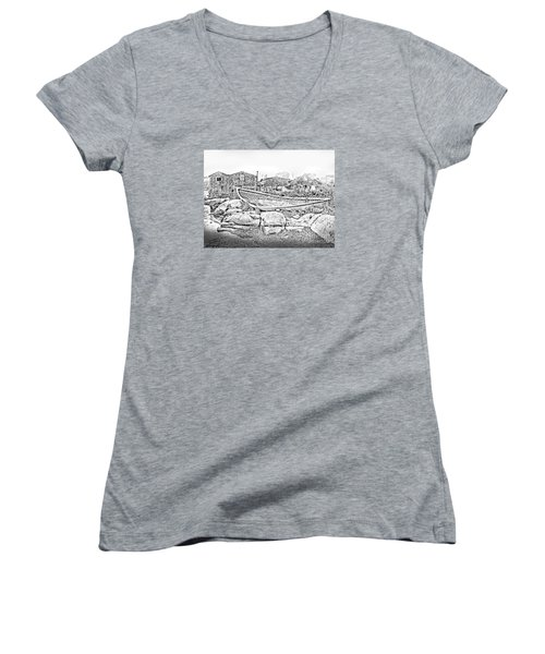 Women's V-Neck T-Shirt (Junior Cut) featuring the photograph The Old Boat At Peggy's Cove by Patricia L Davidson