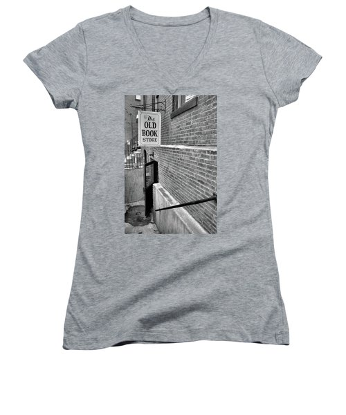 Women's V-Neck T-Shirt (Junior Cut) featuring the photograph The Old Book Store by Karol Livote