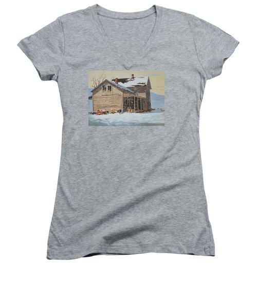the Old Farm House Women's V-Neck T-Shirt (Junior Cut) by Len Stomski