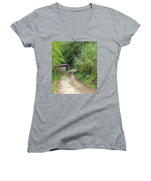 Women's V-Neck T-Shirt (Junior Cut) featuring the photograph The Old Forest Road by Yali Shi