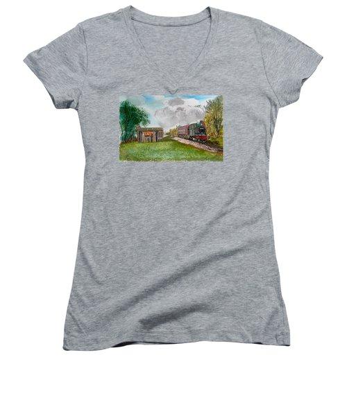 The Old Forsaken Shack Women's V-Neck T-Shirt (Junior Cut) by Carole Robins