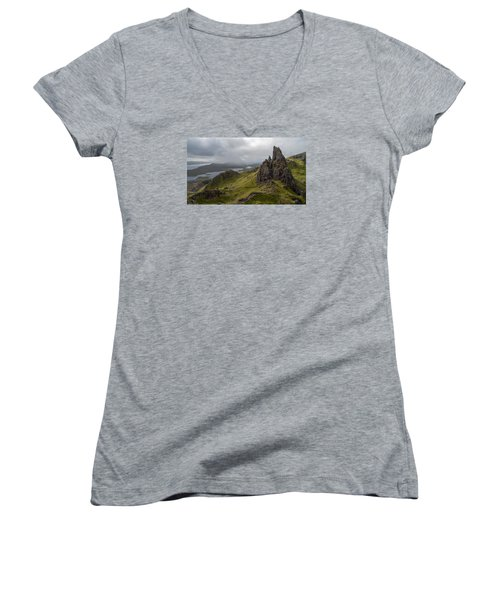 The Old Man Of Storr, Isle Of Skye, Uk Women's V-Neck T-Shirt (Junior Cut) by Dubi Roman