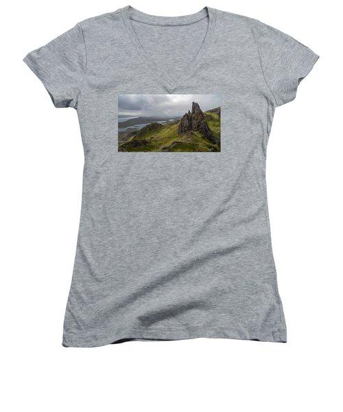 The Old Man Of Storr, Isle Of Skye, Uk Women's V-Neck