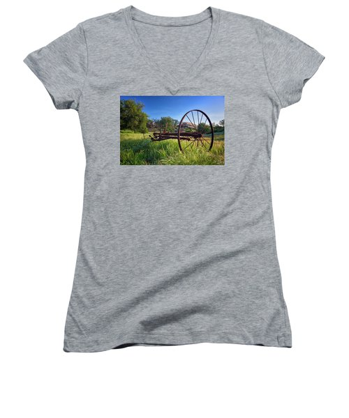 The Old Mower 2 Women's V-Neck T-Shirt (Junior Cut) by Endre Balogh