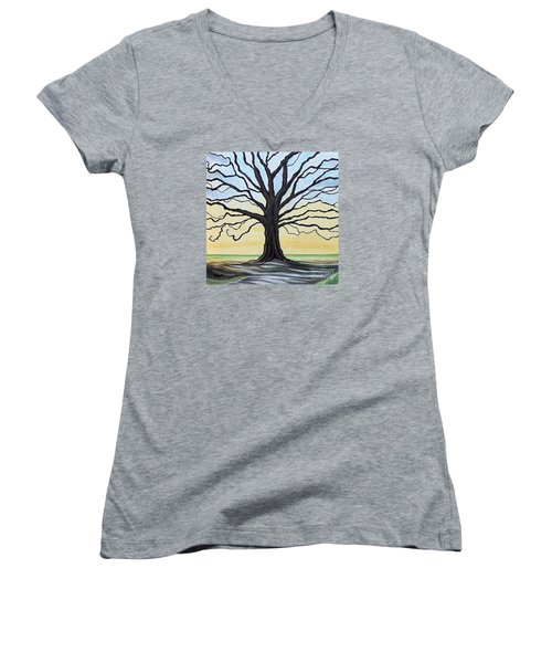 The Stained Old Oak Tree Women's V-Neck T-Shirt (Junior Cut) by Elizabeth Robinette Tyndall