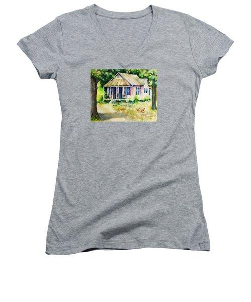 The Old Place Women's V-Neck T-Shirt (Junior Cut) by Rebecca Korpita