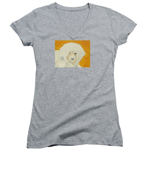 Women's V-Neck T-Shirt (Junior Cut) featuring the painting The Old Poodle by Hilda and Jose Garrancho