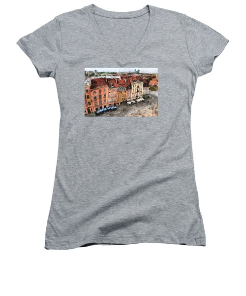 Old Town In Warsaw # 20 Women's V-Neck (Athletic Fit)