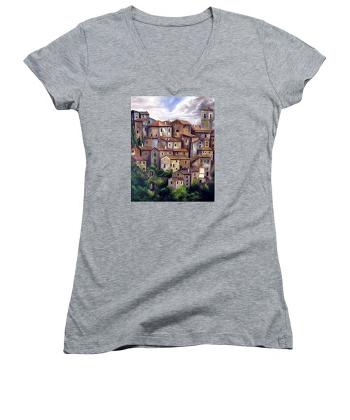 The Old Village Women's V-Neck T-Shirt (Junior Cut) by Katia Aho