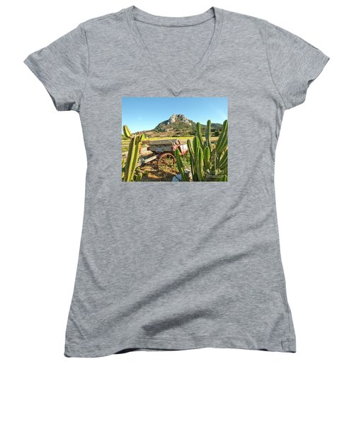The Old Wagon And Cactus Patch In Front Of One Of The Seven Sisters In San Luis Obispo California Women's V-Neck T-Shirt