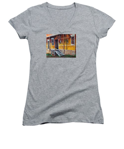 Women's V-Neck T-Shirt (Junior Cut) featuring the painting The Old Warehouse by Jim Phillips
