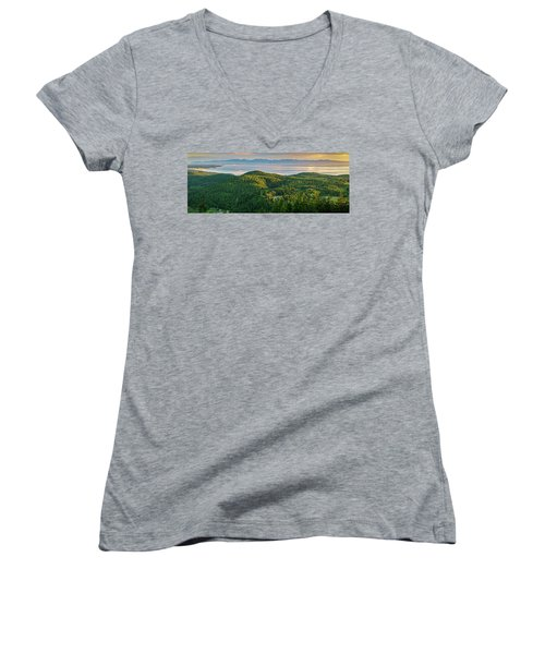 The Olympics From Mt Erie Women's V-Neck T-Shirt (Junior Cut) by Ken Stanback
