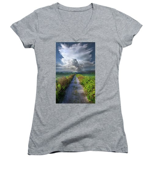 The Only Way In Women's V-Neck T-Shirt (Junior Cut) by Phil Koch