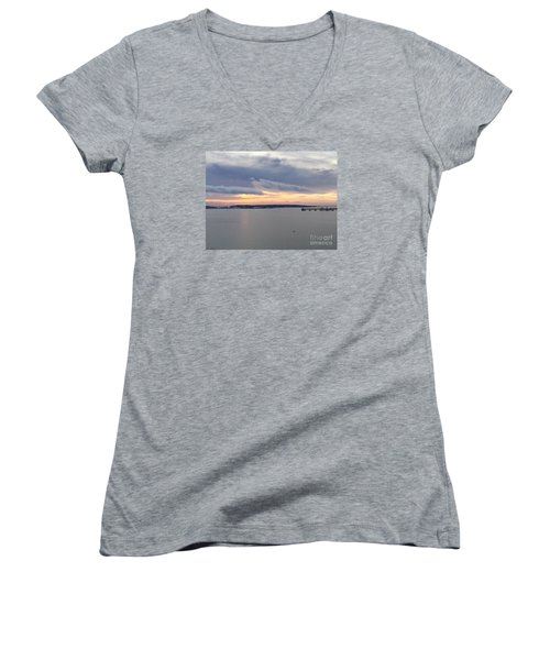 The Opalescent Sunrise Is Unfurled Women's V-Neck T-Shirt (Junior Cut) by Patricia E Sundik