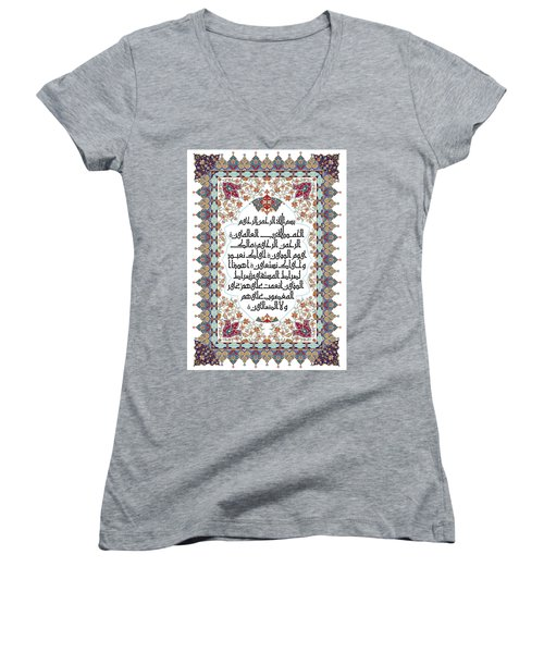 Women's V-Neck T-Shirt (Junior Cut) featuring the painting The Opening 610 4 by Mawra Tahreem