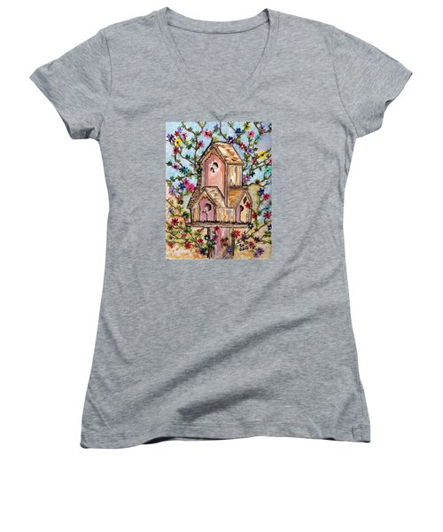 Women's V-Neck T-Shirt (Junior Cut) featuring the painting The Opening Of Spring by Connie Valasco