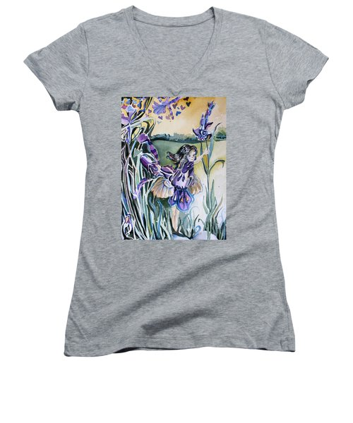 Women's V-Neck T-Shirt (Junior Cut) featuring the painting The Orchid Fairy by Mindy Newman