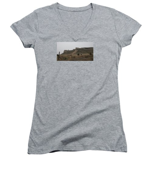Women's V-Neck T-Shirt (Junior Cut) featuring the photograph The Oregon Trail Scotts Bluff Nebraska by Christopher Kirby