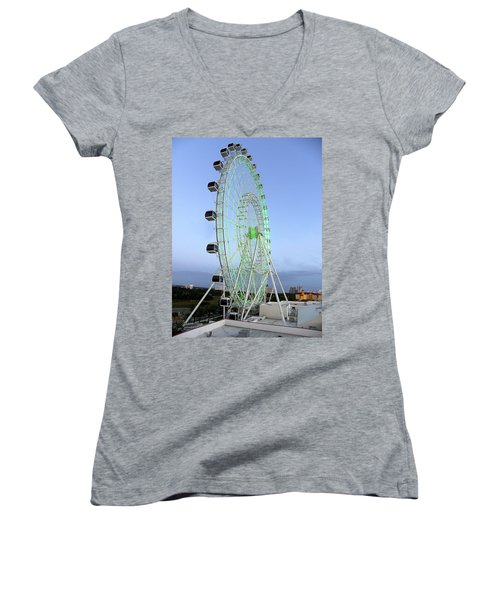 Women's V-Neck T-Shirt (Junior Cut) featuring the photograph The Orlando Eye 000 by Chris Mercer