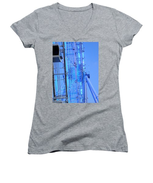 Women's V-Neck T-Shirt (Junior Cut) featuring the photograph The Orlando Eye 002 by Chris Mercer