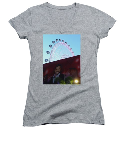 Women's V-Neck T-Shirt (Junior Cut) featuring the photograph The Orlando Eye by Chris Mercer