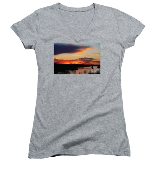 The Other Side Of The Bridge  Women's V-Neck T-Shirt (Junior Cut) by Yumi Johnson