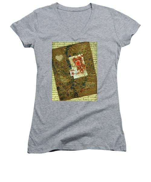 Women's V-Neck T-Shirt (Junior Cut) featuring the mixed media The Package by P J Lewis