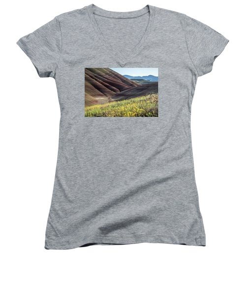 The Painted Hills In Bloom Women's V-Neck T-Shirt