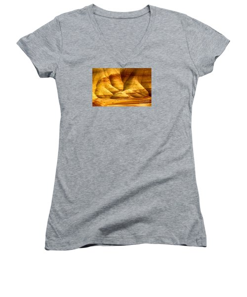 The Painted Hills Women's V-Neck T-Shirt (Junior Cut) by Michael Cinnamond