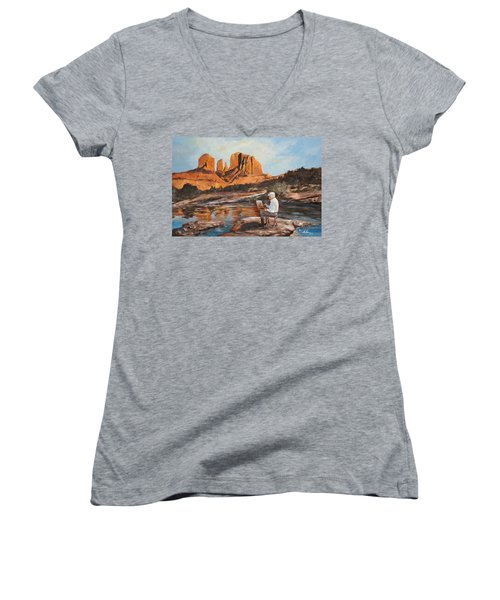 The Painter Woods Women's V-Neck T-Shirt (Junior Cut) by Alan Lakin