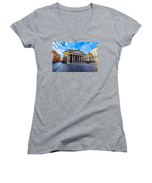 Women's V-Neck T-Shirt (Junior Cut) featuring the painting The Pantheon Rome by David Dehner