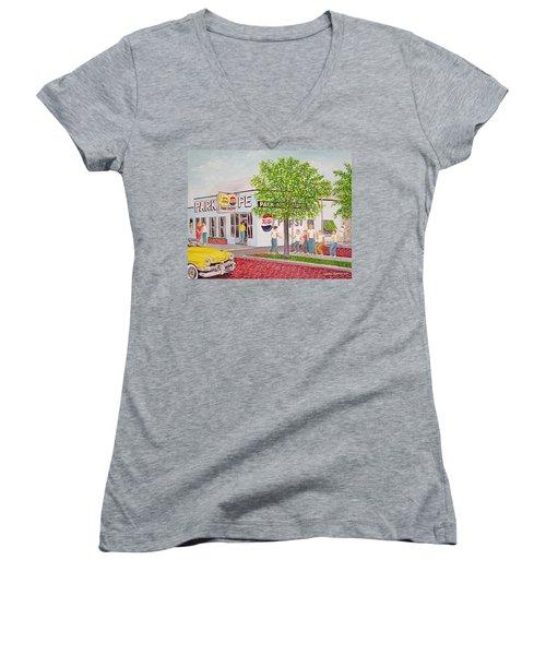 The Park Shoppe Portsmouth Ohio Women's V-Neck T-Shirt (Junior Cut) by Frank Hunter