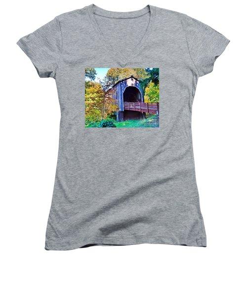 The Pass Creek Covered Brkidge Women's V-Neck T-Shirt